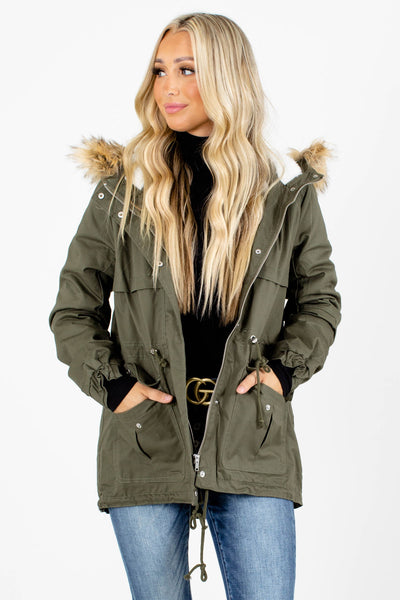 Green Faux Fur Lined Boutique Coats for Women