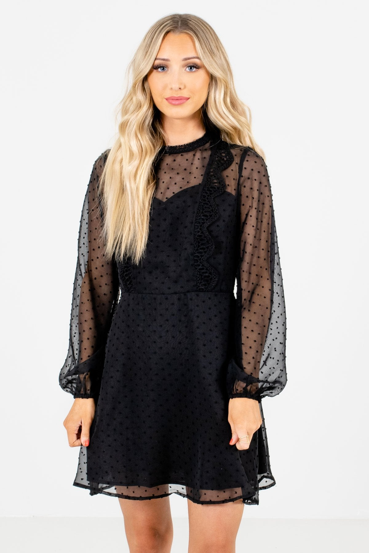 Black Polka Dot Textured Material Boutique Mini Dresses for Women