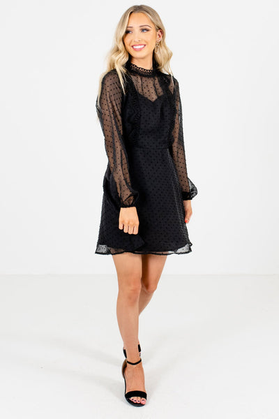Women's Black Crochet Accented Boutique Mini Dress