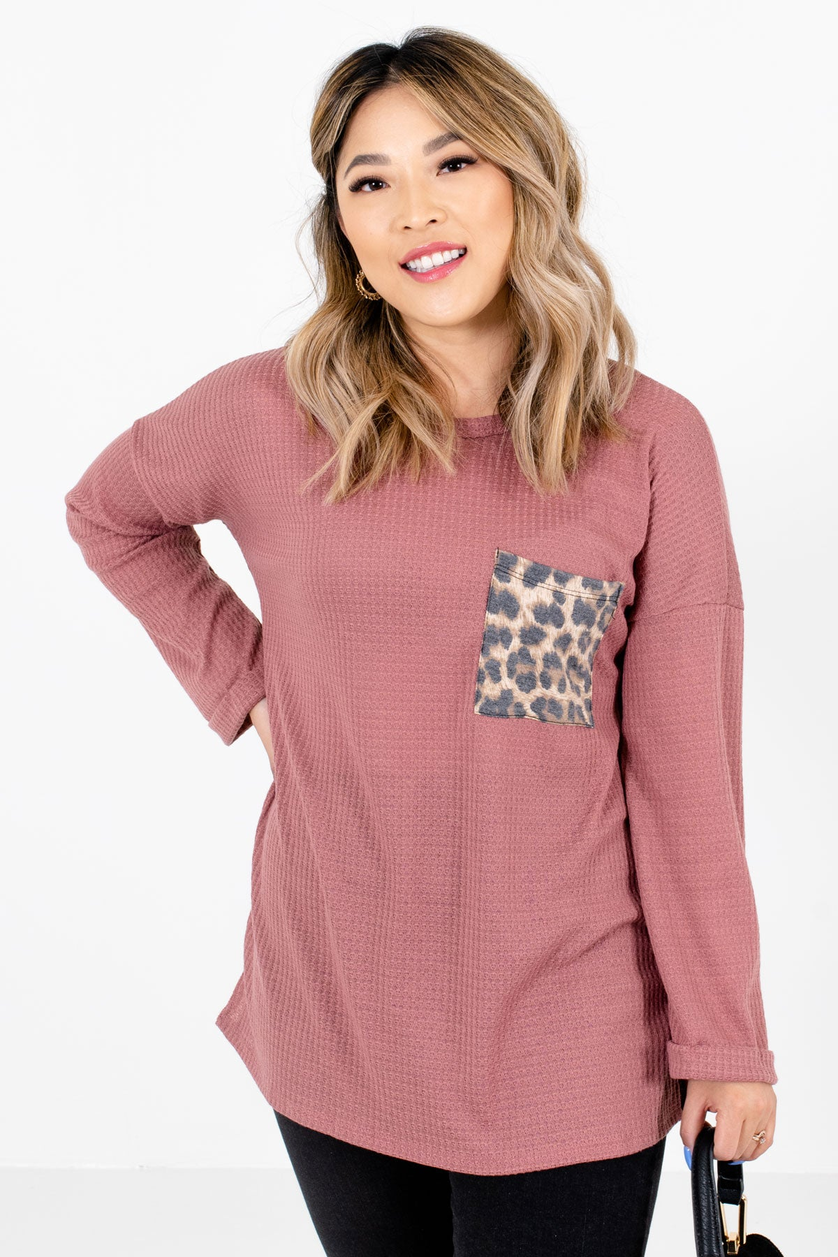 Pink Long Sleeve Waffle Knit Tops with Leopard Animal Print Accent Pocket