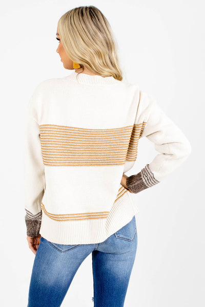 Women's Cream Round Neckline Boutique Sweater