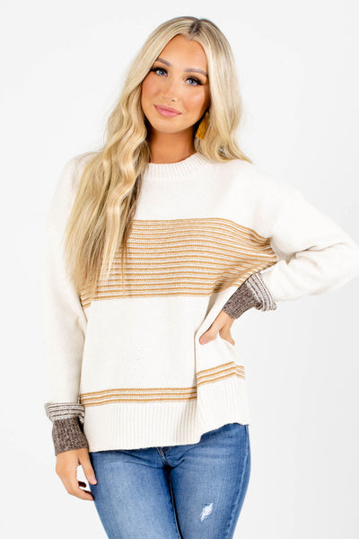 Cream Mustard and Brown Striped Boutique Sweaters for Women