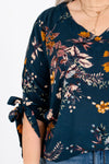 Teal Floral Foliage Print Peasant Blouses and Tops for Fall