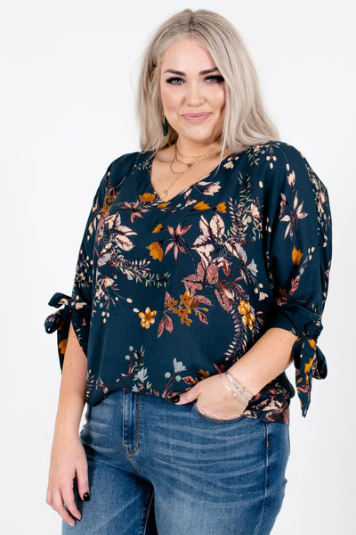 Teal Fall Autumn Floral Foliage Print Peasant Blouses for Women