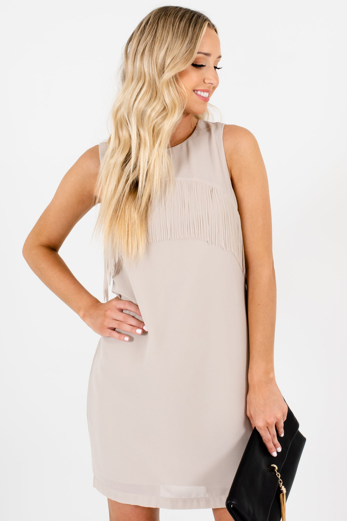 Taupe Beige Fringe Mini Dresses Affordable Online Boutique