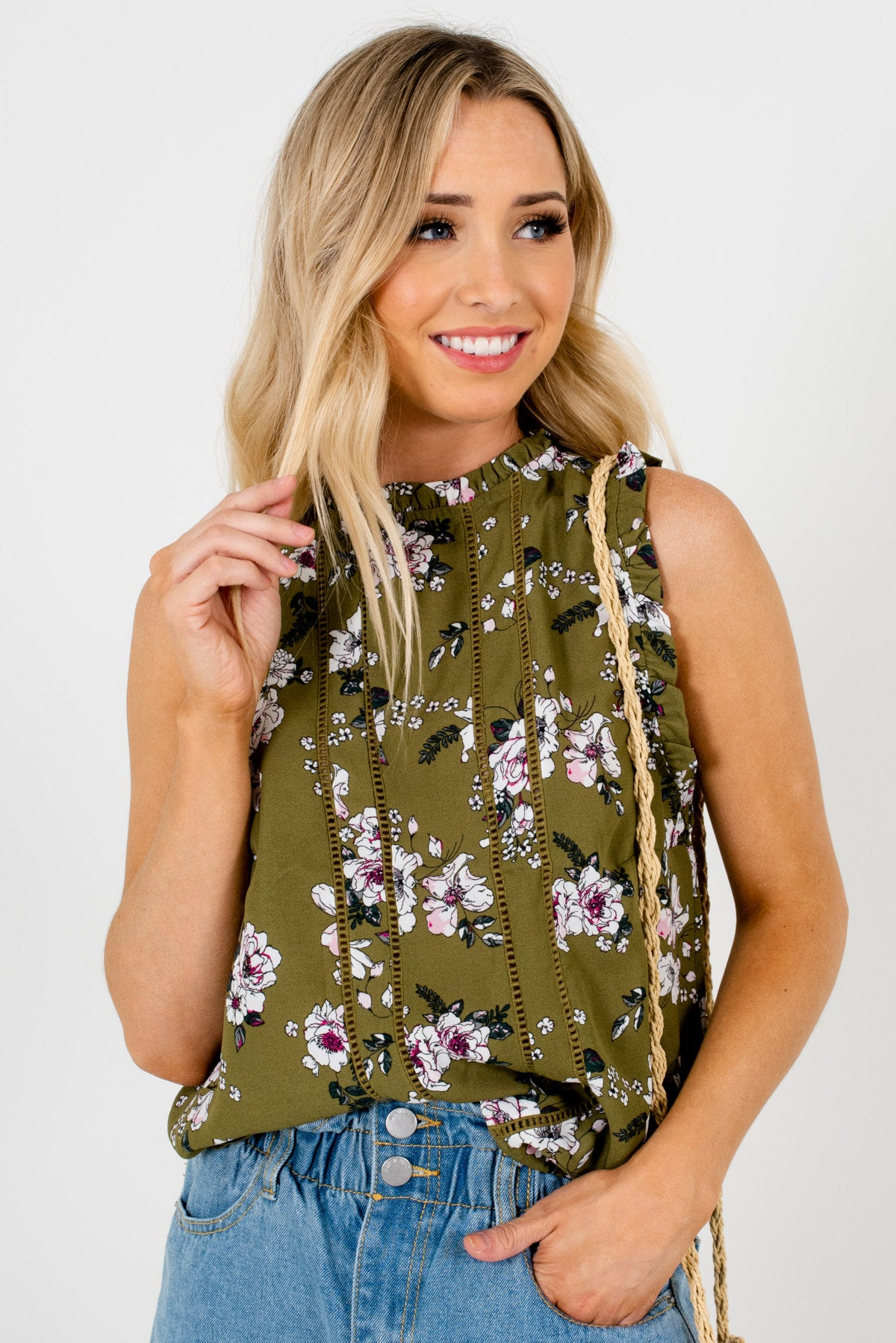 Olive Green Floral Patterned Boutique Blouses for Women