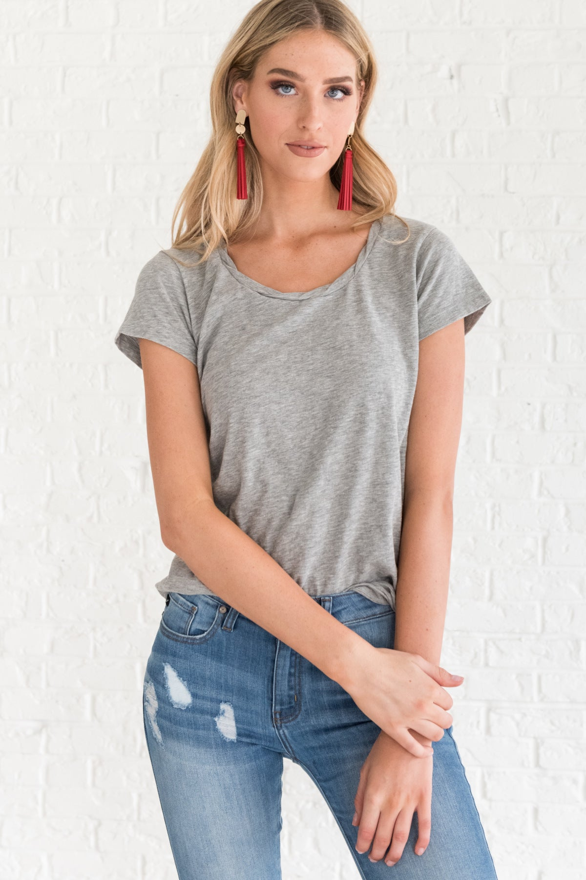 Gray Basic Casual T Shirts for Women