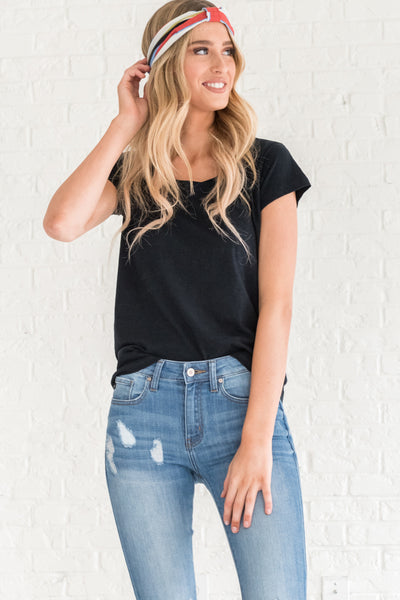 Navy Basic Casual T Shirts for Women