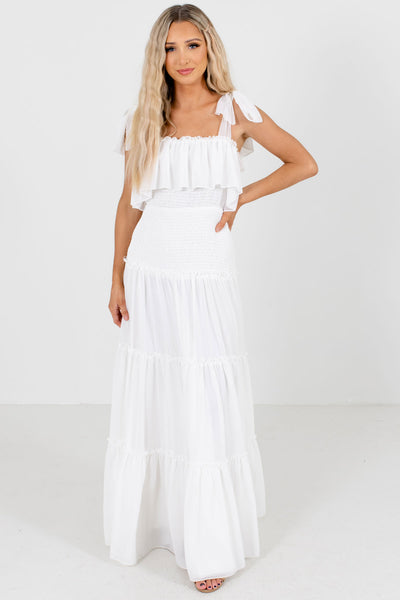 White Smocked Bodice Boutique Maxi Dresses for Women