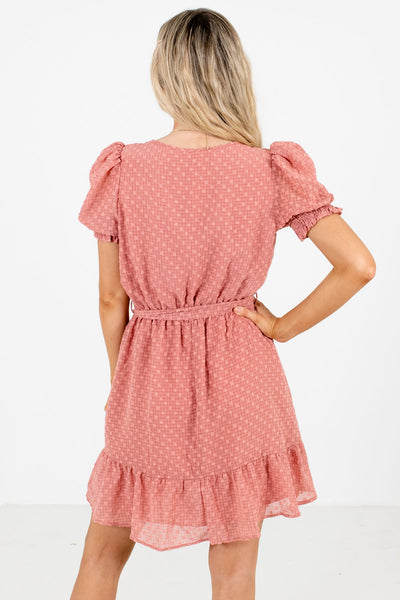 Women's Pink Faux Wrap Bodice Boutique Mini Dresses
