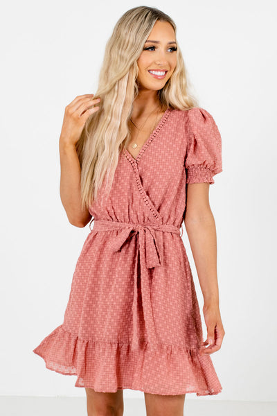 Pink High-Quality Textured Material Boutique Mini Dresses for Women
