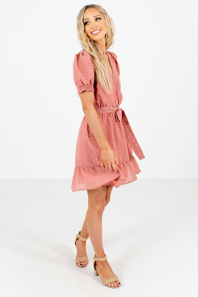 Pink Ruffled Hem Boutique Mini Dresses for Women