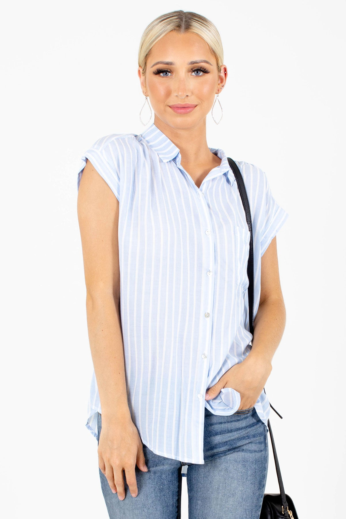 Blue and White Striped Boutique Shirts for Women
