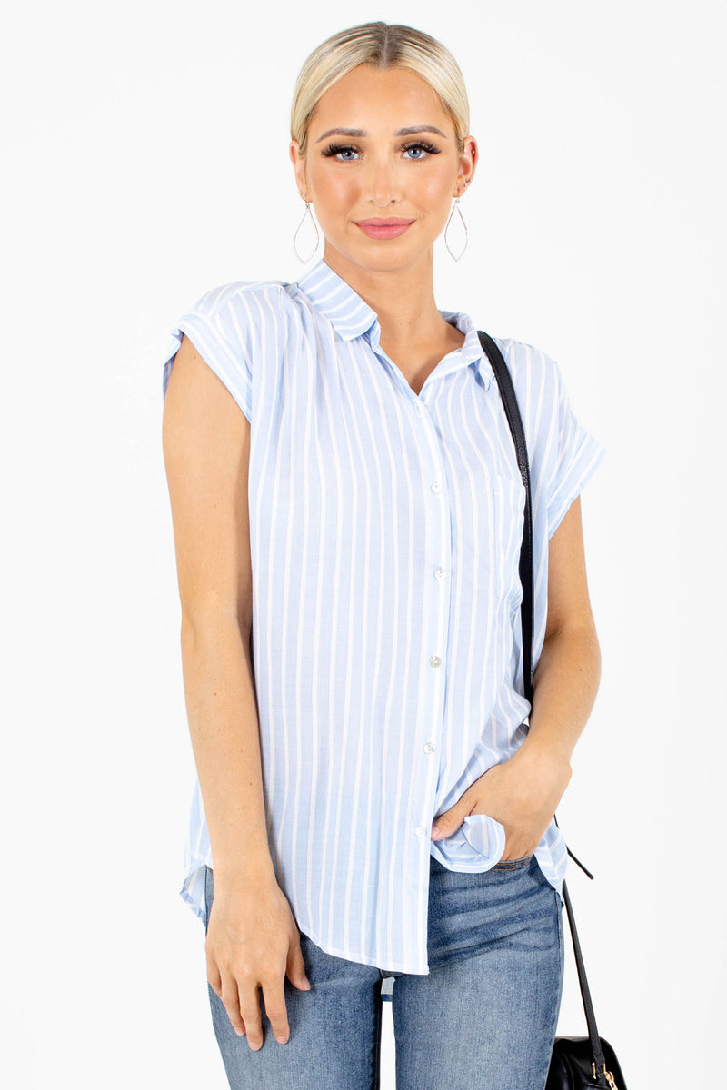 Feeling Fresh Blue Striped Shirt