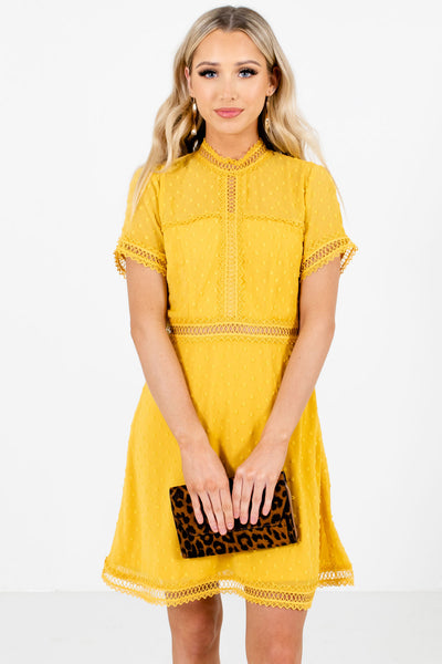Mustard Yellow High-Quality Polka Dot Textured Material Boutique Mini Dresses for Women