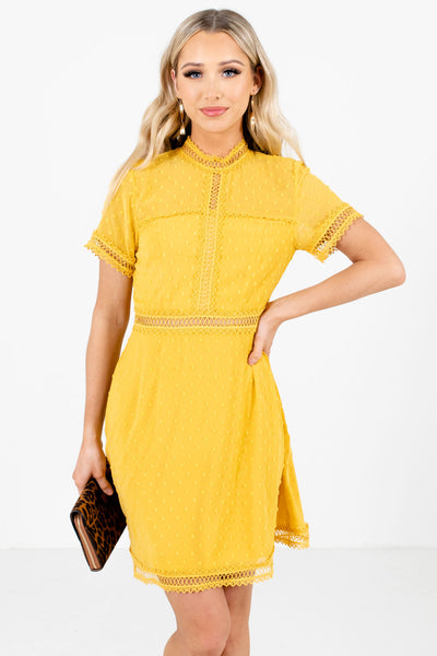 Women's Mustard Yellow Zip-Up Back Partially Lined Boutique Mini Dress