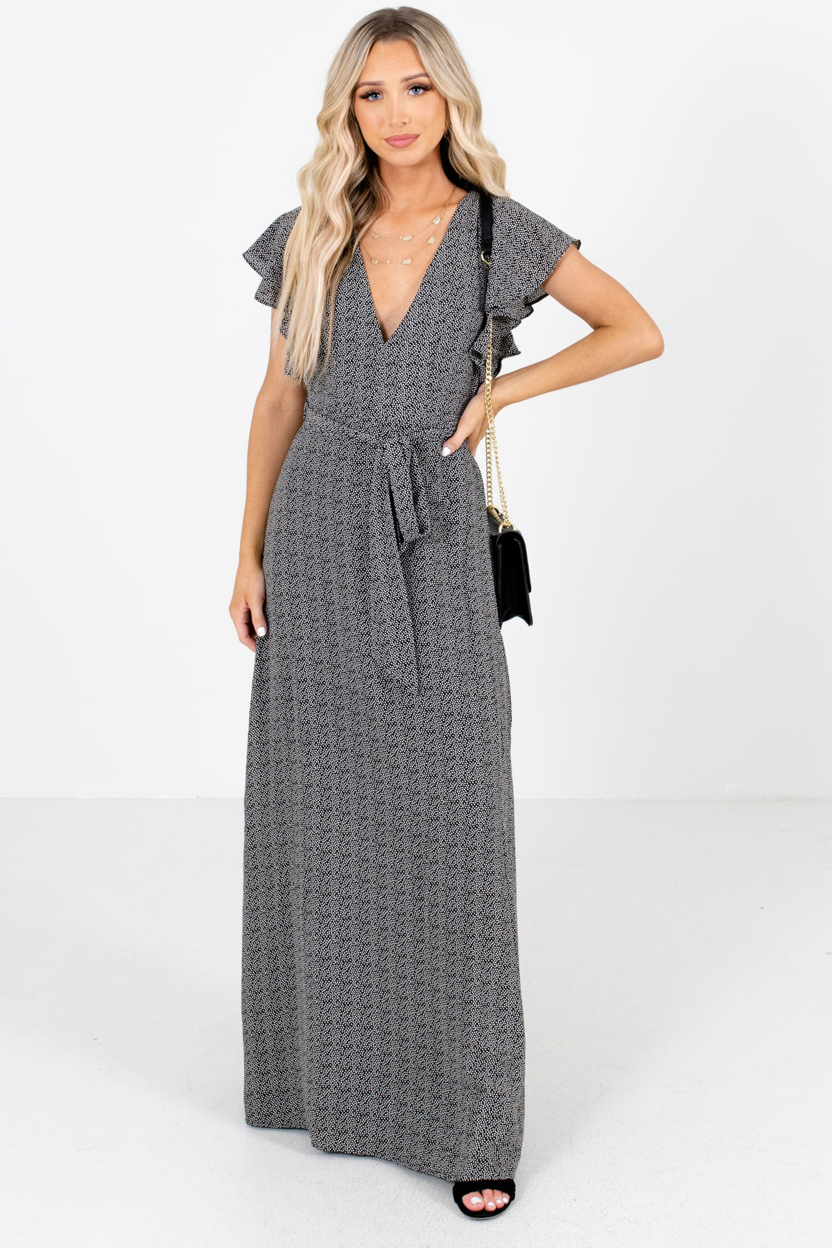 Black and White Abstract Polka Dot Patterned Boutique Maxi Dresses for Women