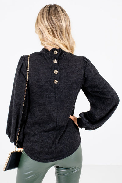 Women's Black Decorative Button Boutique Top