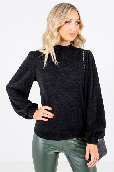 Black Bishop Sleeve Boutique Tops for Women