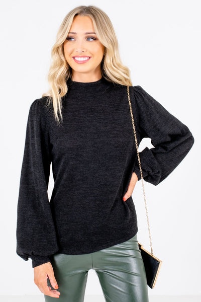 Black Mock Neckline Boutique Tops for Women