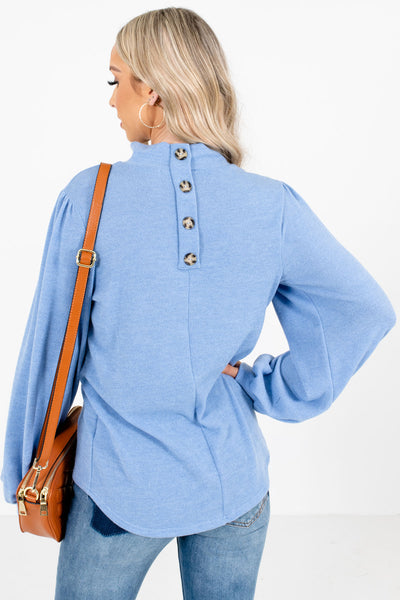 Women's Blue Button-Up Back Neckline Boutique Top