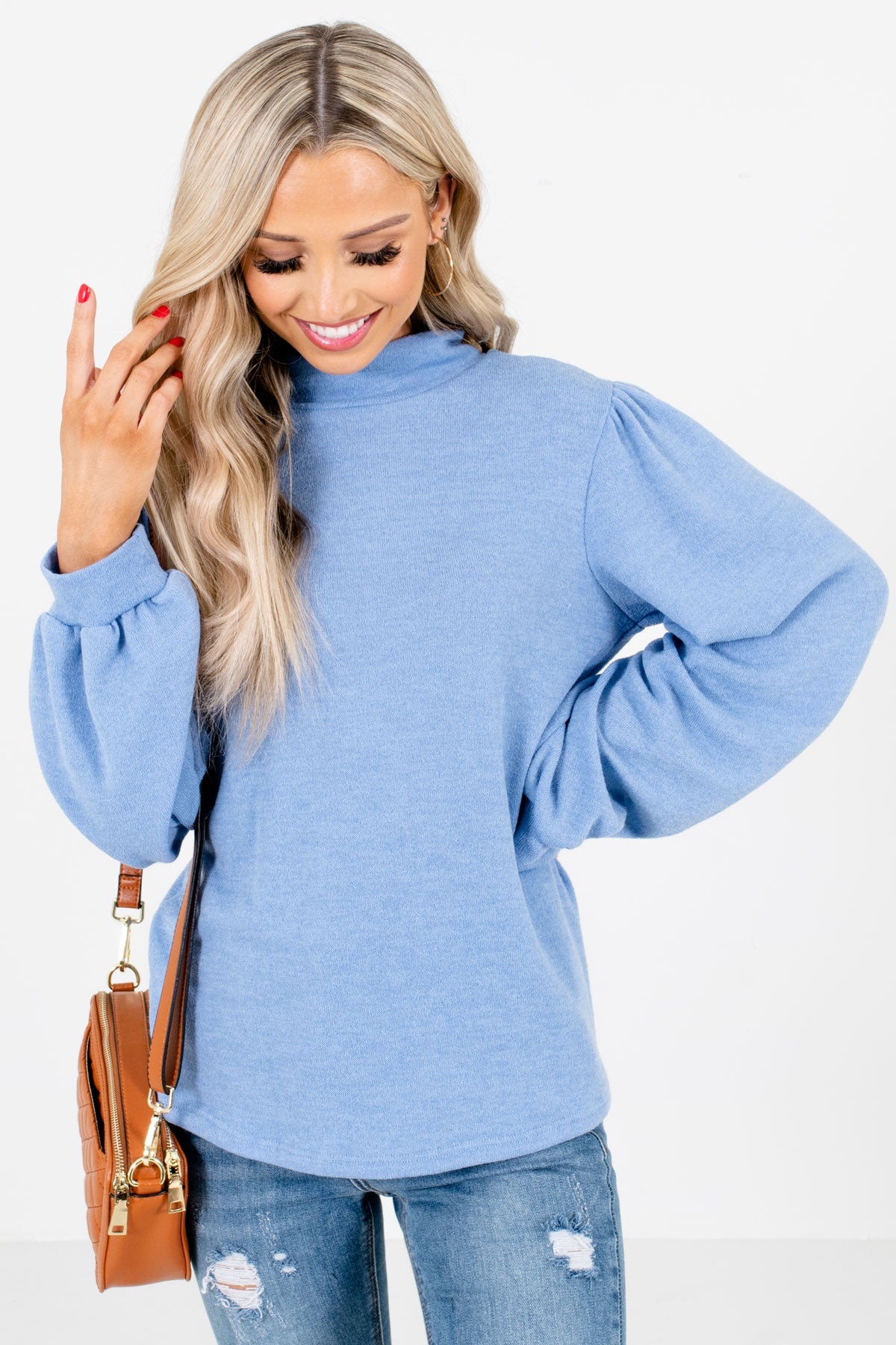 Blue Bishop Sleeve Boutique Tops for Women