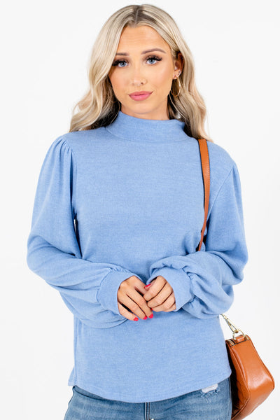 Women's Blue High Round Neckline Boutique Tops