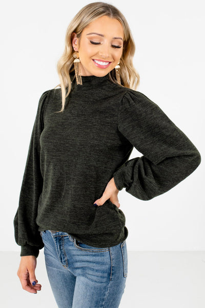 Green Bishop Sleeve Boutique Tops for Women