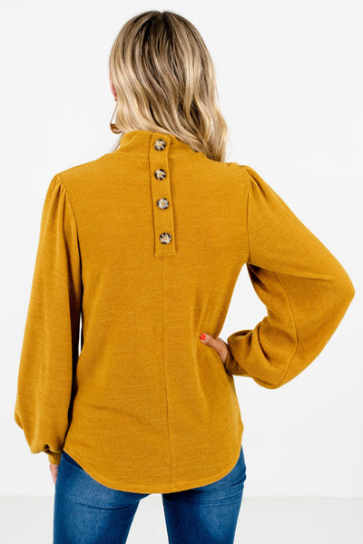 Women's Mustard Yellow Decorative Button Boutique Top