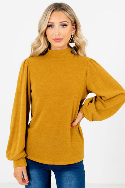 Mustard Yellow Mock Neckline Boutique Tops for Women