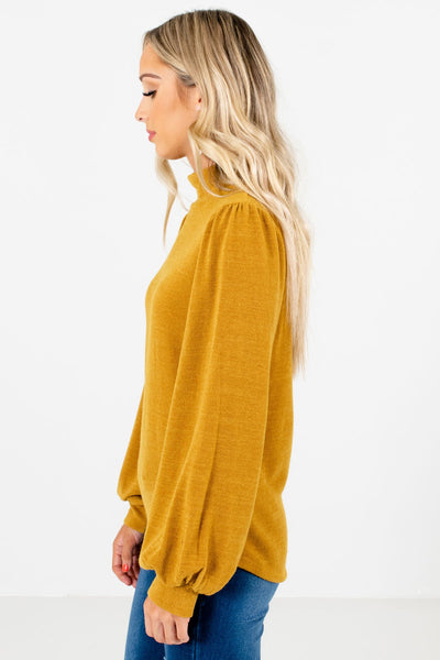 Mustard Yellow Bishop Sleeve Boutique Tops for Women