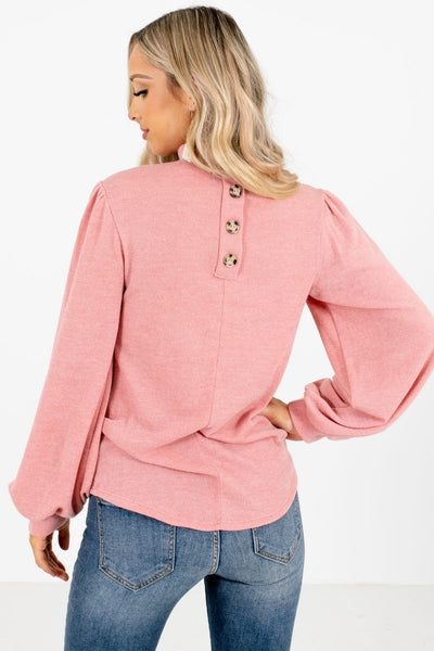 Women's Pink Decorative Button Boutique Top