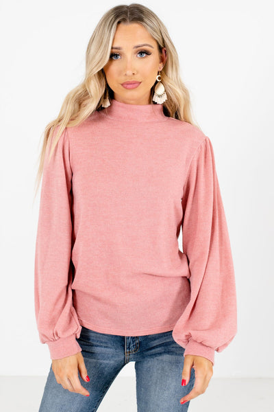 Pink Mock Neckline Boutique Tops for Women
