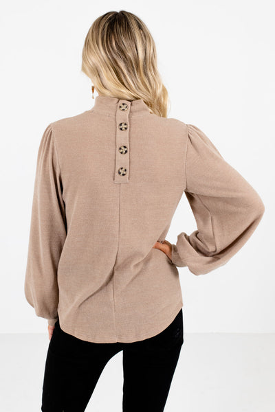 Women's Taupe Brown Decorative Button Boutique Top