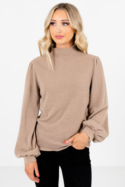 Taupe Brown Mock Neckline Boutique Tops for Women