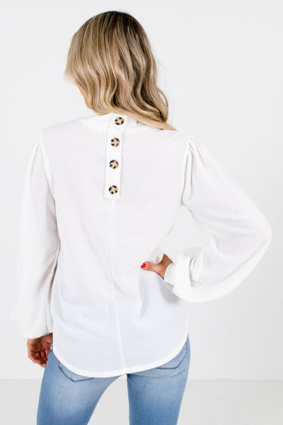 Women's White Decorative Button Boutique Top