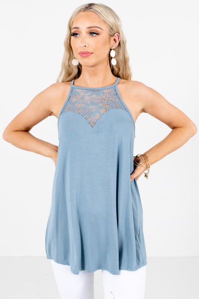 Women's Blue Flowy Boutique TAnk Tops
