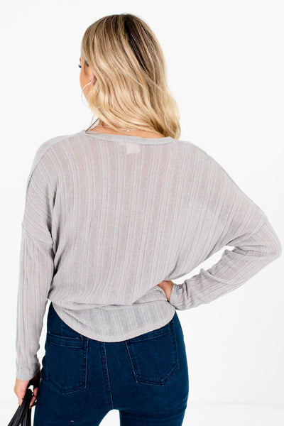 Women's Gray Button-Up Front Boutique tops