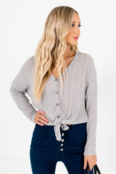 Women's Gray Long Sleeve Boutique Tops