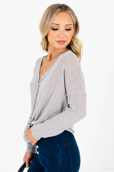 Gray Tie Front Detail Boutique Tops for Women