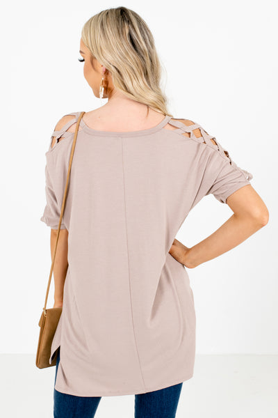 Women's Brown Round Neckline Boutique Top