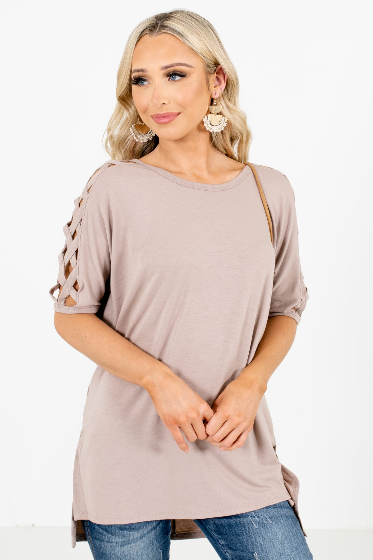 Brown Criss-Cross Detailed Boutique Tops for Women