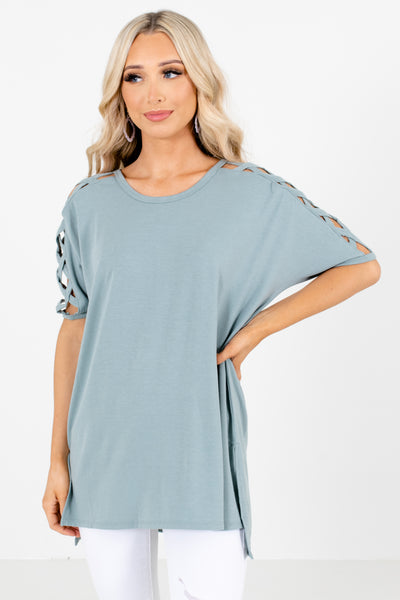 Green Stretchy Material Boutique Tops for Women