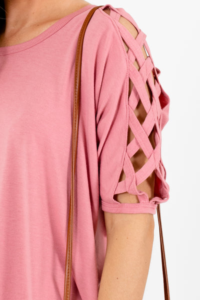 Women's Pink Semi-Sheer Detailed Boutique Tops