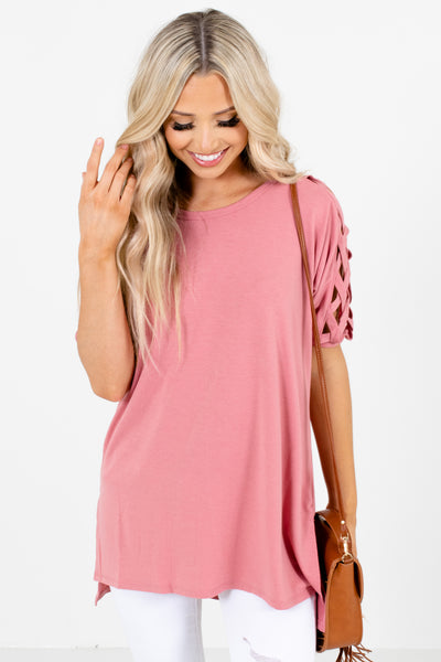 Pink Split High-Low Hem Boutique Tops for Women