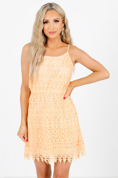 Orange Crochet Lace Material Boutique Mini Dresses for Women