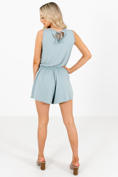 Women's Green Elastic Waistband Boutique Romper