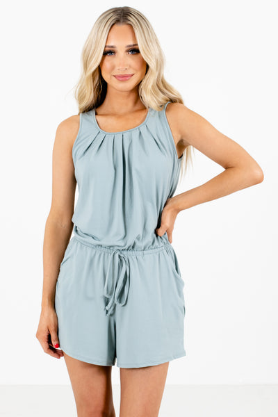 Green Boutique Rompers with Pockets for Women