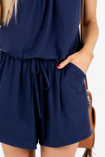 Women's Navy Keyhole Back Boutique Romper