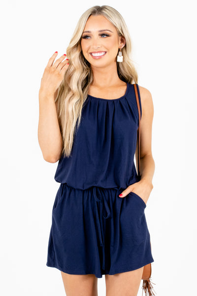 Navy Blue Cute and Comfortable Boutique Rompers for Women